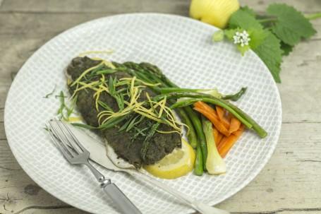 Forelle mit Kräuterkruste - Auf einer hellen Holzfläche steht ein hellgrüner mit weißen Gitterlinien verzierter Teller. Auf dem Teller liegt auf einer Zitronenscheibe ein Stück Forellenfilet, das von einer grünen Kruste ummantelt ist. Darauf liegen in feinen Streifen geschnittene Zitronenschale und Zwiebelgrün. Rechts neben dem Fisch liegen als Gemüsebeilage einige Stangen grüner Sprgel, Karotten und Frühlingszwiebeln. Links neben dem Fisch liegen Messer und Gabel bereit. (Foto: Tobias Schneider-Lenz - Nicht zur freien Verwendung)