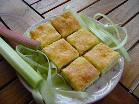 Rhabarberkuchen mit Eier-Sauerrahm Überguss -  (Foto: Maria Thek - Nicht zur freien Verwendung)