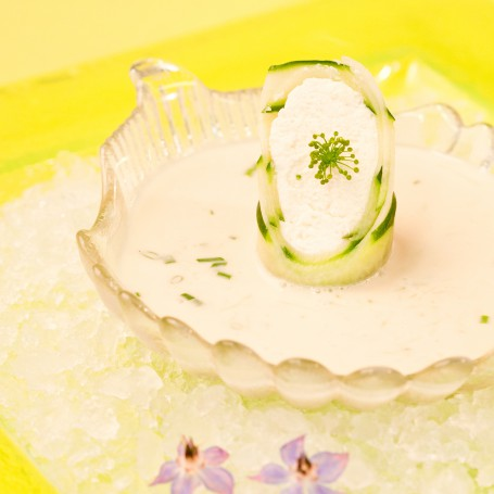 Geeiste Gurkensuppe mit Ziegenkäserolle -  (Foto: Ulrike Matscheko-Altmüller - Nicht zur freien Verwendung)
