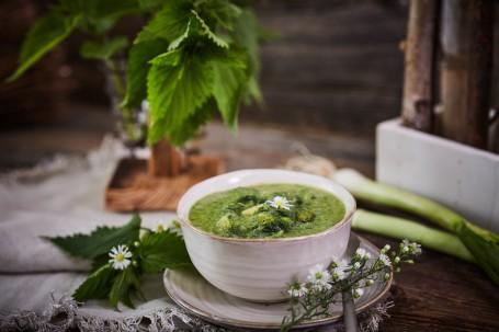 Brennnessel-Suppe - In einer weiß-braunen, kleinen Tonschüssel mit Untersatz befindet sich die Brennnessel-Erdäpfel-Suppe. In der grünen Suppe sind gekochte Erdäpfel-Stücke mit einer weißen Blüte zu erkennen. Rechts liegt auf dem Tonuntersatz ein Esslöffel. Dieser ist ebenfalls mit weißen Blüten versehen. Die Tongefäße stehen auf einem beigen Tischtuch. Im Hintergrund befinden sich links ein kleiner Holzständer und ein gläsernes Gefäß mit Brennnesseln. Rechts sind Jungzwiebel und ein Gefäß mit Holzdekoration zu sehen. (Foto: VrK/Franz Gleiß - Nicht zur freien Verwendung)