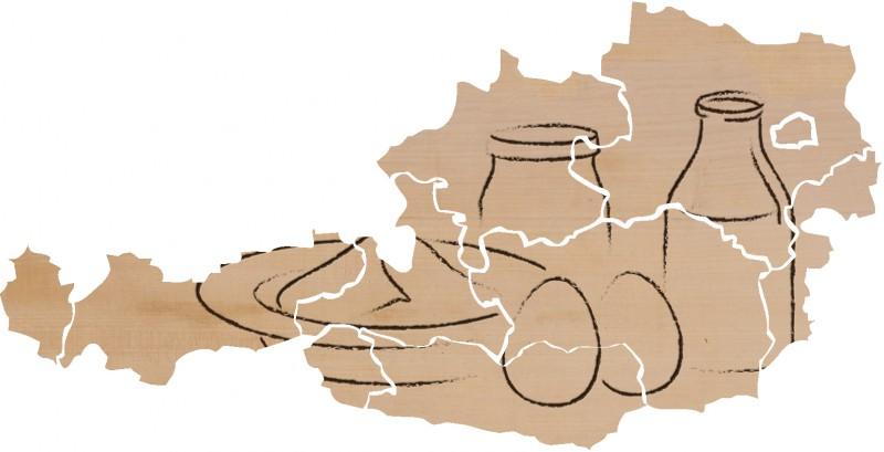 Karte Österreich mit Produkte